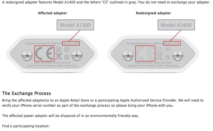 iPhone 3GS, 4 and 4S power adapter recall