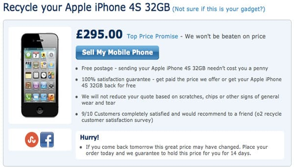 iPhone 5 to change O2 UK trade-in price