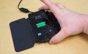 iPhone 5 flip case with wireless charging