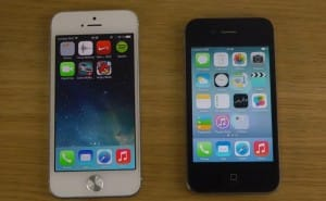 iPhone 5 vs. 4S with both running iOS 7 beta 2