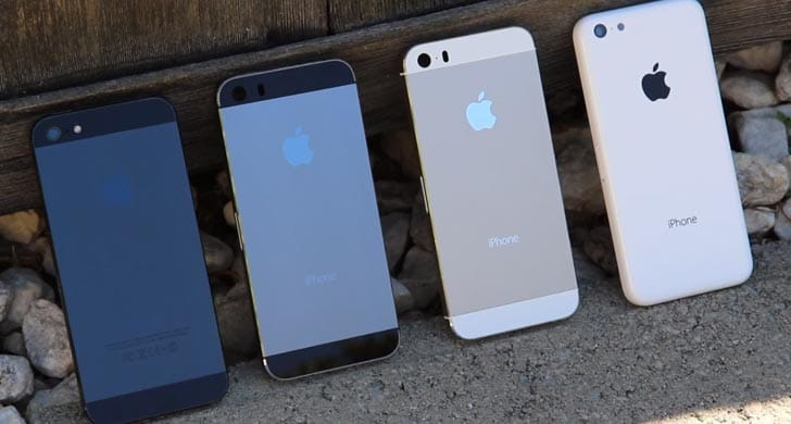 The iPhone 5 stands next to the expected iPhone 5S and 5C.