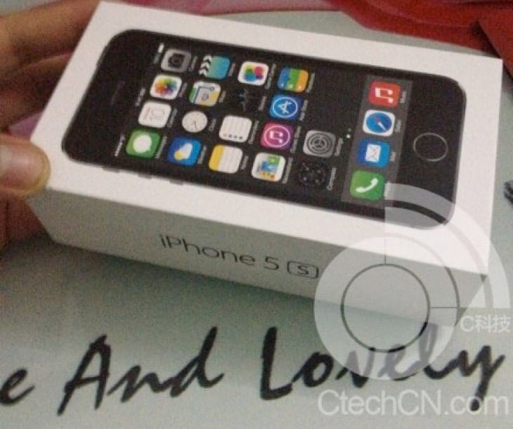 Possible iPhone 5S box showing existence of fingerprint scanner on home button