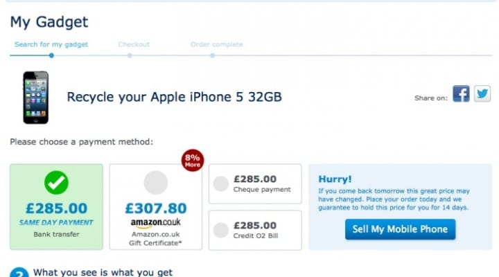 iPhone 5S upgrade, sell at O2 UK not Apple
