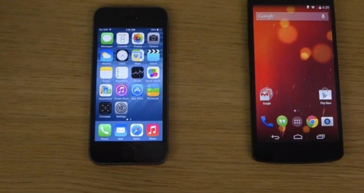 iPhone 5S with iOS 8 vs. Nexus 5, Galaxy S5 Android 4.4.3