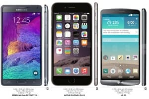 iPhone 6 Plus vs. Galaxy Note 4 and LG G3 by chart