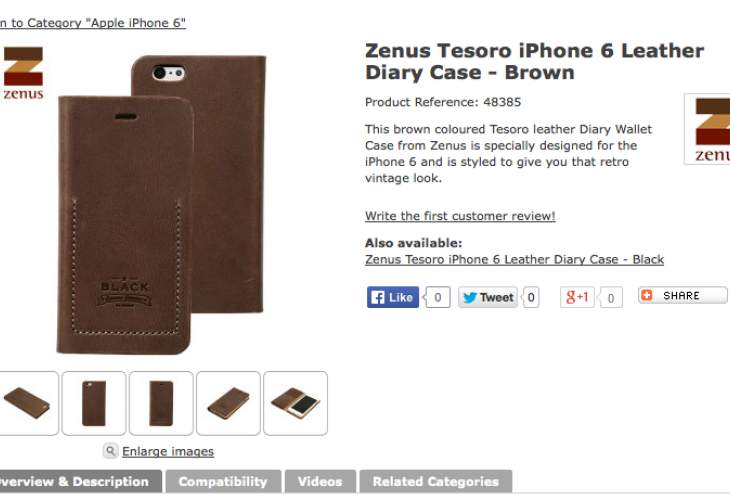 iPhone 6 brown and black leather diary Case