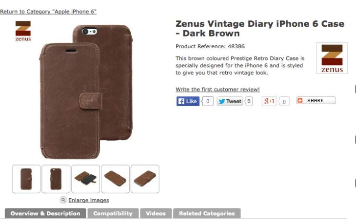 iPhone 6 brown leather diary Case