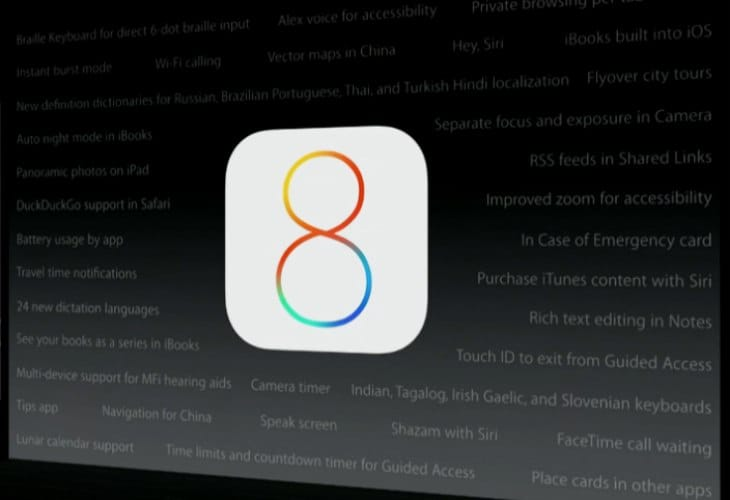 iOS 8 beta 2 features