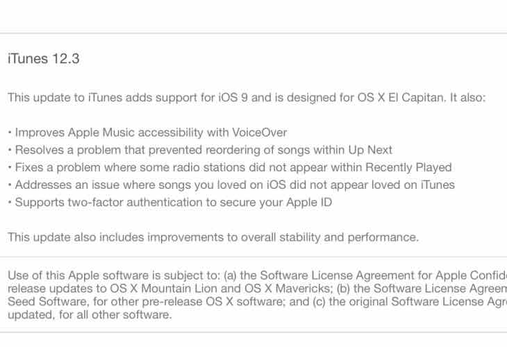 iTunes 12.3 release notes