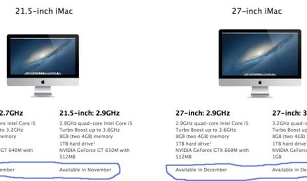 2012 iMac release proposal contradicts store