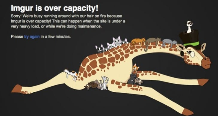 Imgur is down with Over Capacity Giraffe