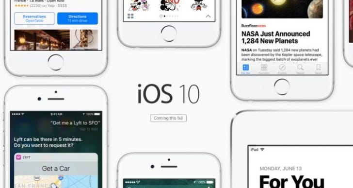 iOS 10 update compatibility chart from Apple