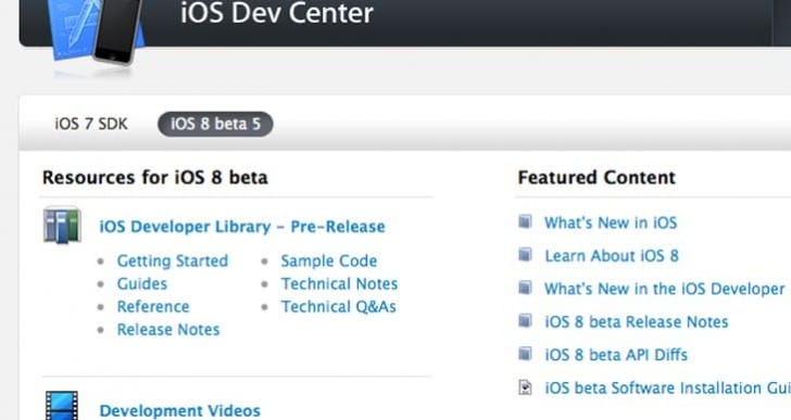 iOS 8 SDK beta 5 now live