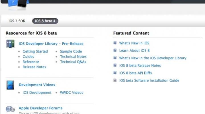 iOS 8 beta 4 253MB download live
