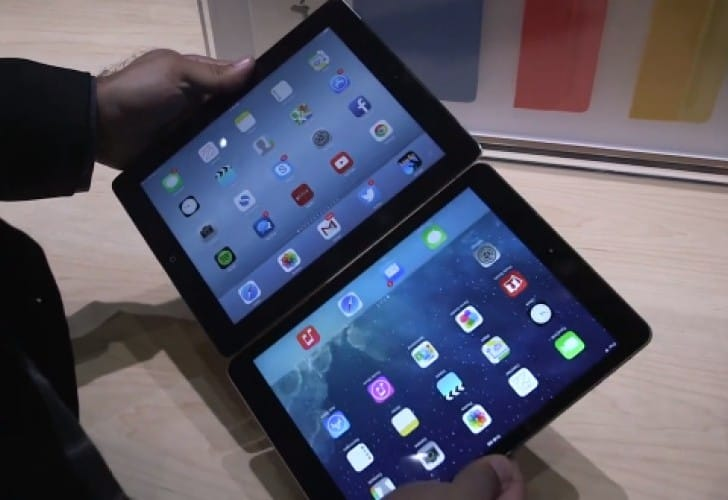 iPad Air Vs iPad 4 on video compares dimensions