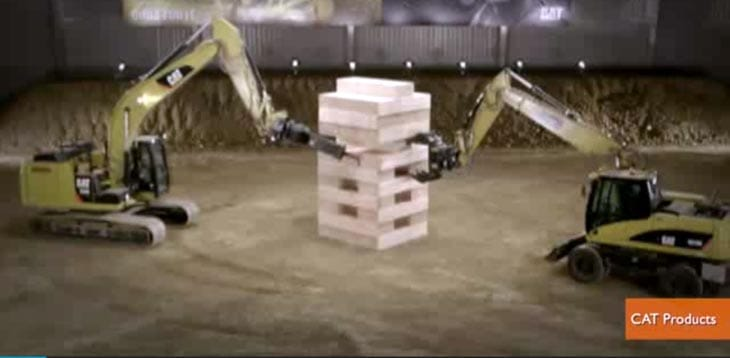 jenga-five-CAT-Excavators