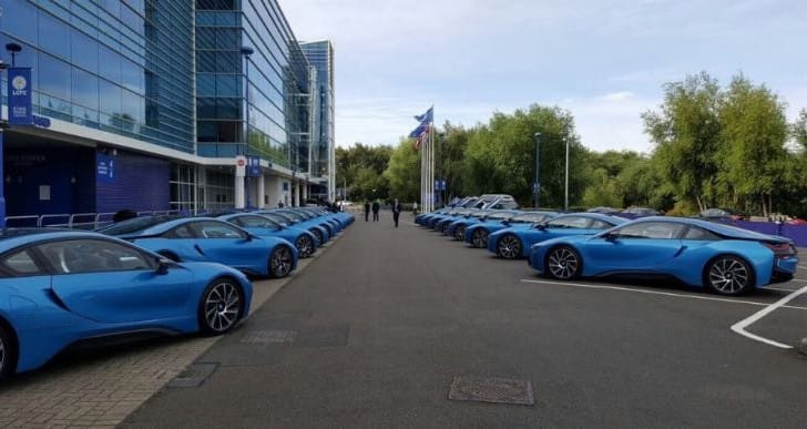 Leicester City players show off 19 BMW i8 cars
