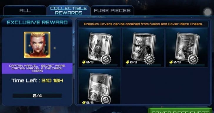 Never open Marvel Future Fight Cover piece chests