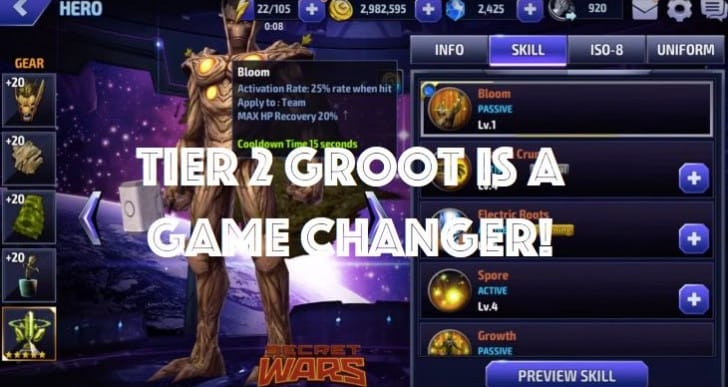 Marvel Future Fight T2 Groot a game changer for World Boss