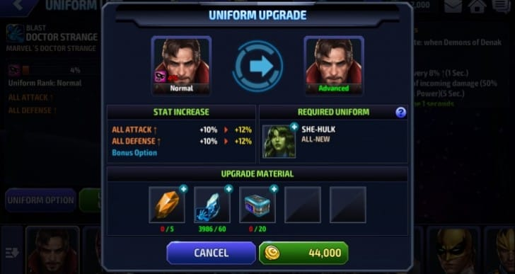 Marvel Future Fight Uniform Upgrade requirements list