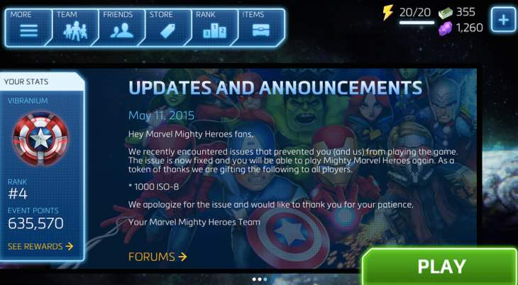 Marvel Mighty Heroes compensation changed by DeNA