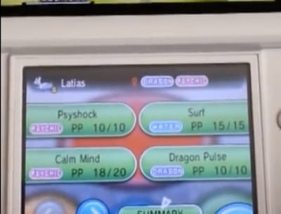 Evidence of Mega Latias' move list.