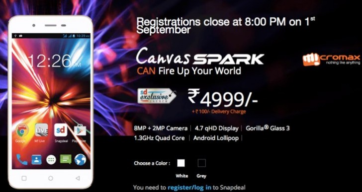 New Micromax Canvas Spark Q380 Snapdeal time