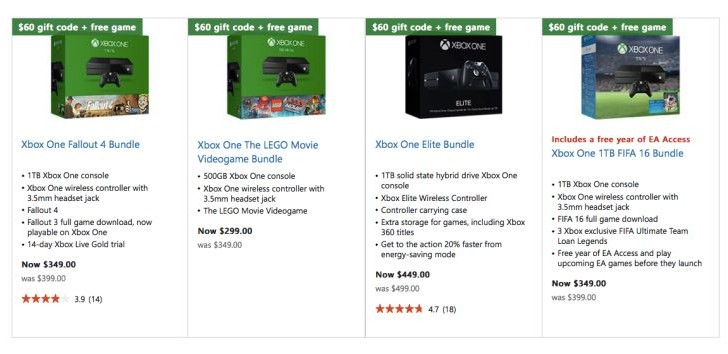 Microsoft Store Xbox One bundles live with free game