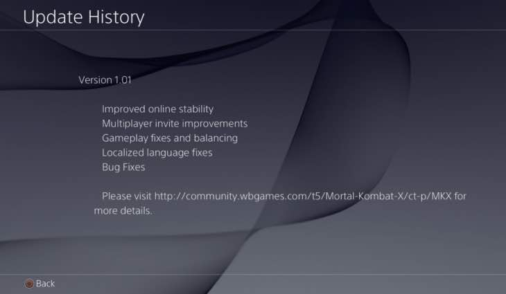 Mortal kombat x 1. 01 update notes for ps4, xbox one – product.
