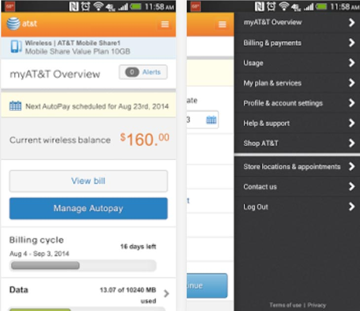 Myat Amp T App Update For Account Login On Android Product