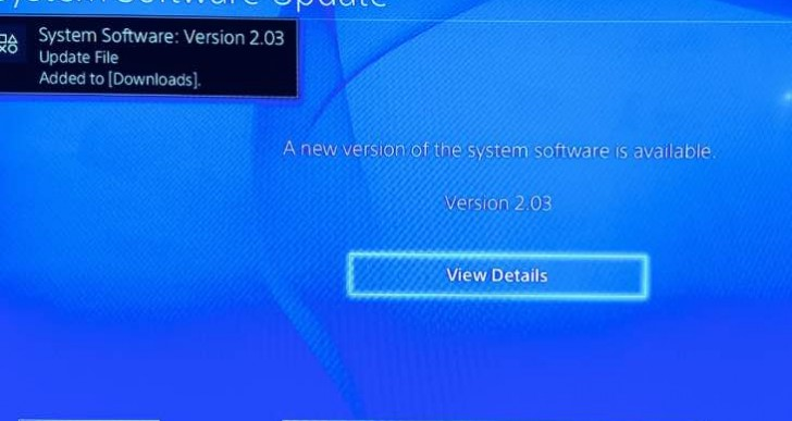 PS4 2.03 update live at 217.2MB size