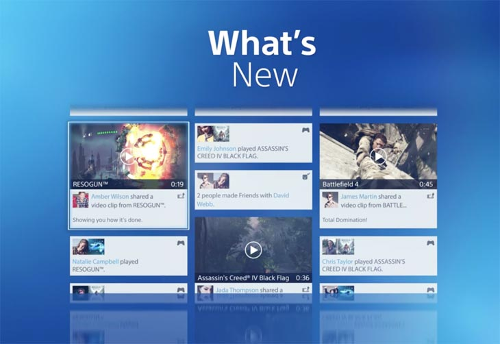 Display PS4 2.0 home screen with all content items