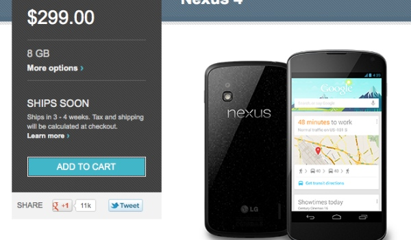 Nexus 4 8B stock still disappointing in February