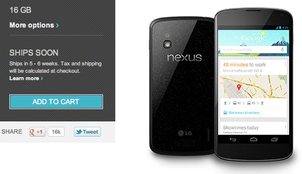 Nexus 4 shipping sooner than quoted