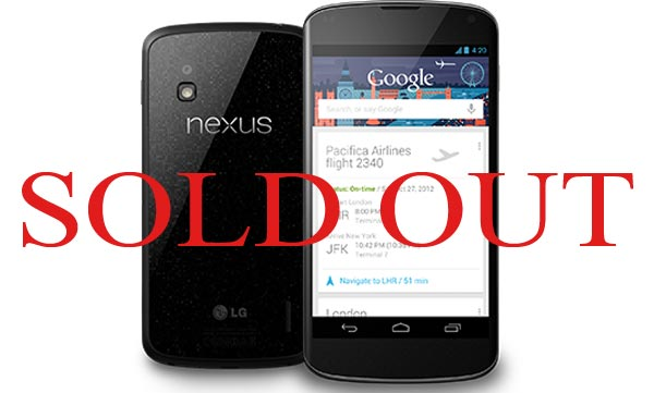 Nexus 4 permanently sold out for 2012