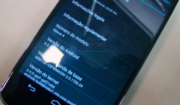 Nexus 4 with Android 4.2.2 discovered