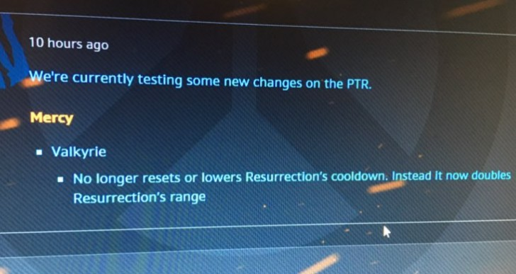 Overwatch Mercy Nerf with player backlash after PTR