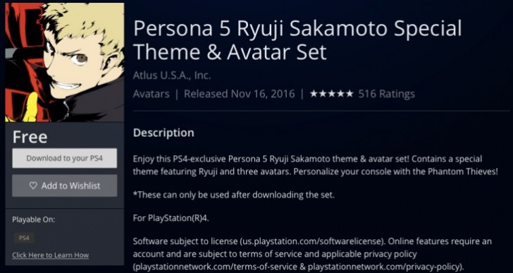 Free Persona 5 PS4 theme download, today only
