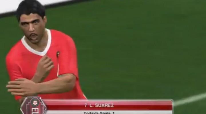 PES 2014 celebrations with Luis Suarez dive