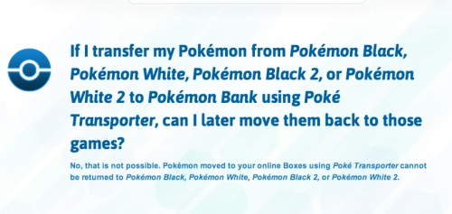 Be careful when transferring Pokemon in X and Y, as you can't return them afterwards