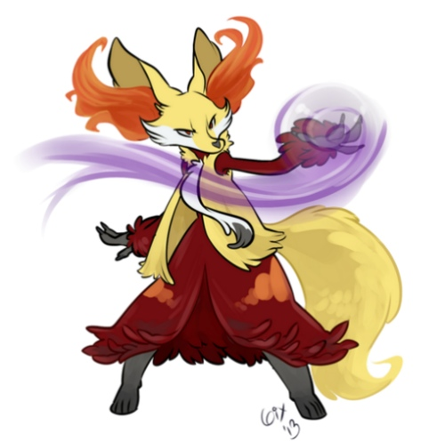 Here's some custom art showing Delphox, courtesy of Sixelona