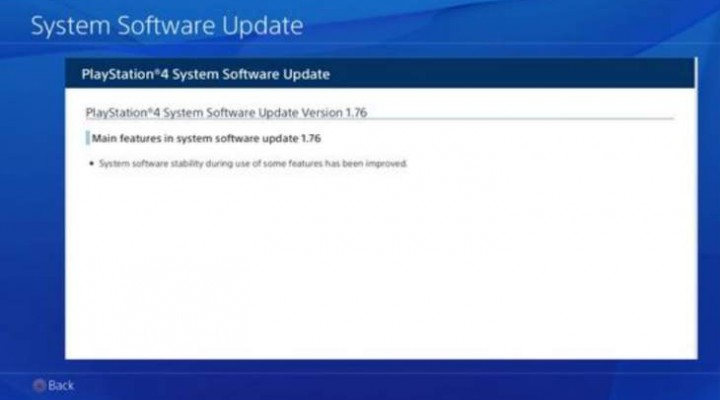 PS4 1.76 update is trivial