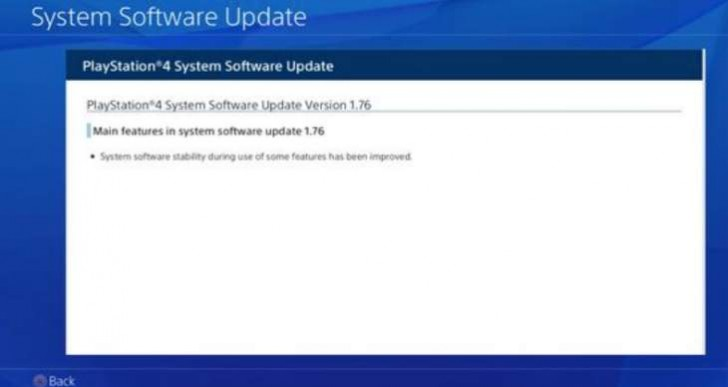 PS4 1.76 update is trivial