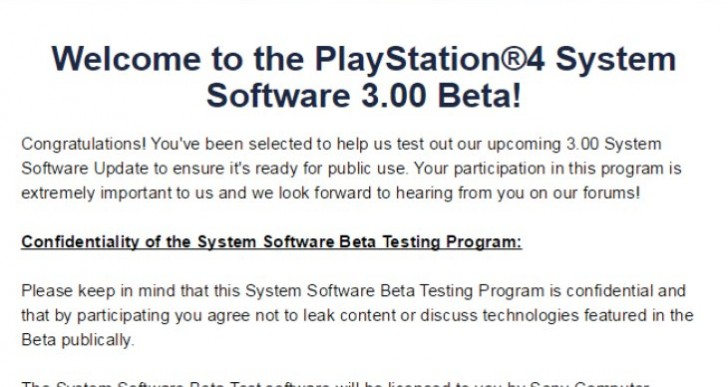 PS4 3.0 beta update code from email