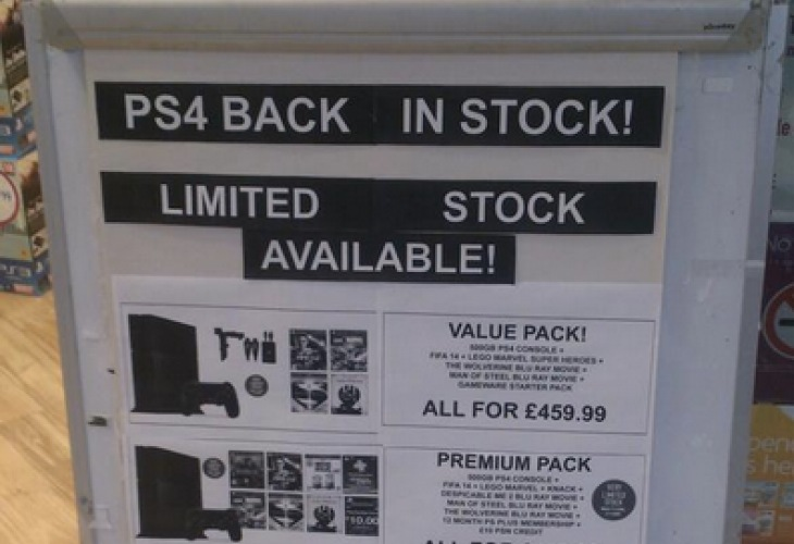 PS4 UK stock update from GAME with warning