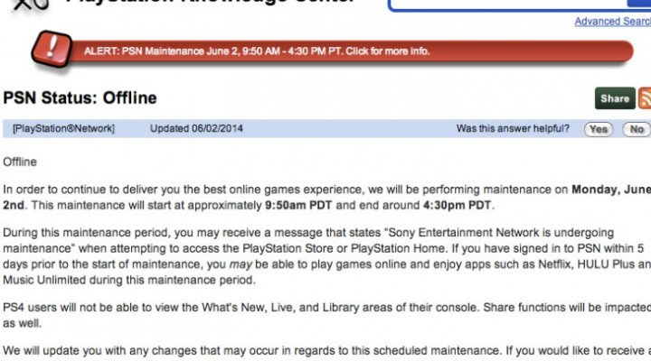 PSN down today for UK, US maintenance