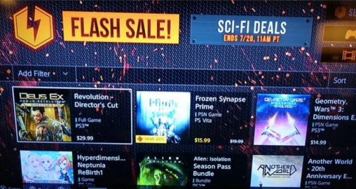 PSN Flash Sale August 2015 games on PS4, PS3