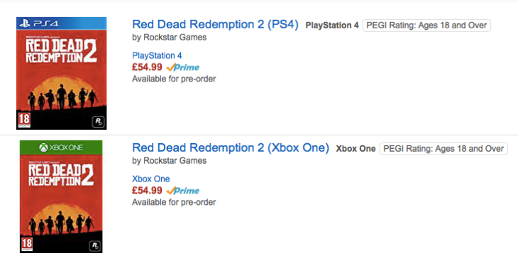Red Dead Redemption 2 PS4, Xbox One preorder bonus fear