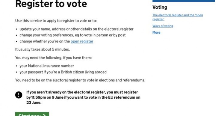 EU Referendum Register to Vote website down