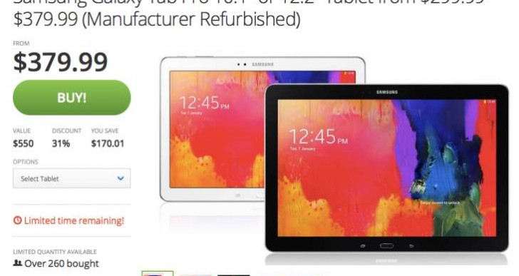 Samsung Galaxy Tab Pro 10.1, 12.2 Price cut in US